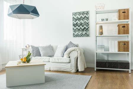 Small comfortable living room with minimalist furniture Archivio Fotografico