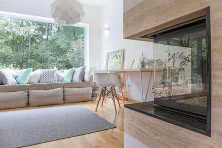 Cheminée moderne dans un salon spacieux sophistiqué Banque d'images - 49423093