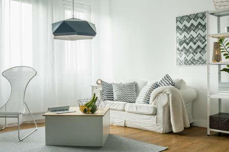 White living room idea and modern details Imagens - 49423452