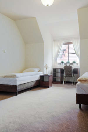 furnished: Image of neat furnished twin hotel room