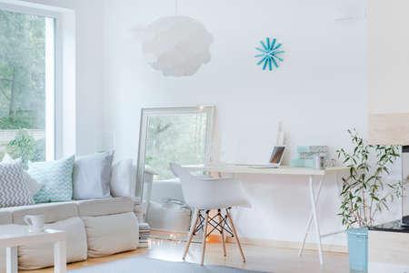 日当たりの良い洗練されたスタジオの部屋のデザインの写真