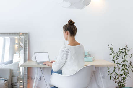 Comfortable light space to work at home Stock Photo