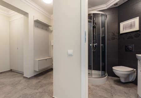 voguish: Horizontal photo small grey bathroom placed in the hall