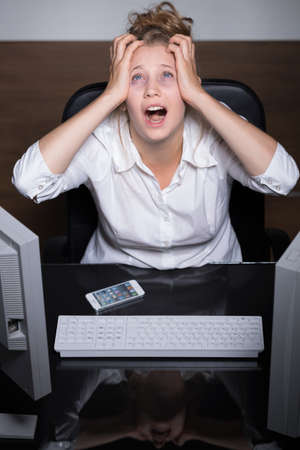 shouting girl: Image of shouting girl suffering from overwork