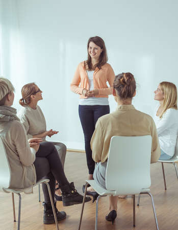 coaches: Picture of development activities for active women Stock Photo