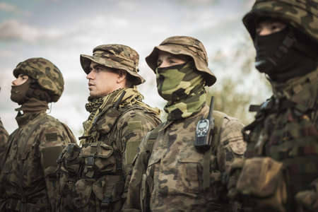 military training: Group of soldiers during army basic training Stock Photo