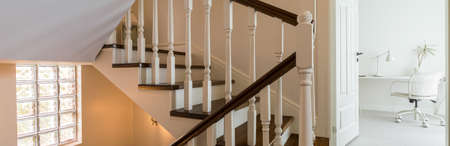 wooden stairs: Panorama of beautiful white and brown wooden stairs