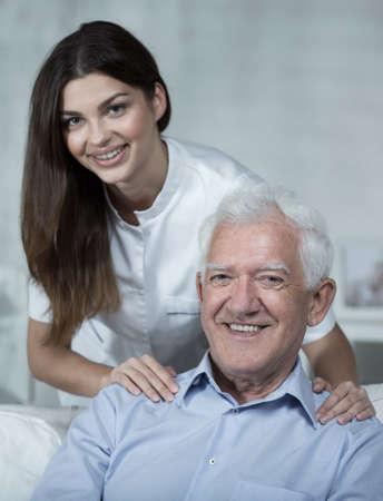 often: Young nurse visits elder man very often