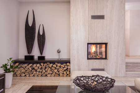 fireplace living room: Modern fireplace with wood in the living room