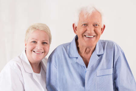 old man happy: Nurse and old man are very happy