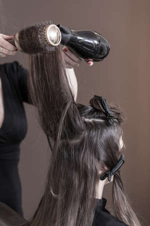 drying: Hairdresser is drying young womans hair