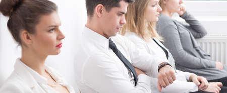 Corporations: Panorama of young people developing career in corporation Stock Photo