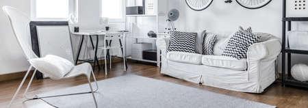 furniture: Modern furniture in black and white studio flat