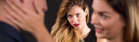 envious: Beautiful crazy woman is jealous of ex-boyfriend