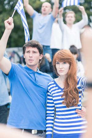 revolt: Image of greek young revolt against corrupt elites Stock Photo