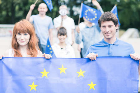 Photo of young people with european union flag Stock Photo
