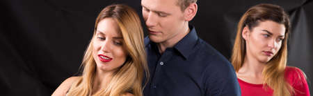 cheated: Sad cheated wife and husband with mistress