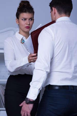 demanding: Photo of demanding female leader and office worker