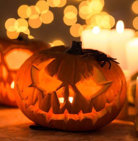 scary pumpkin: Photo of hollow scary pumpkin lantern for halloween