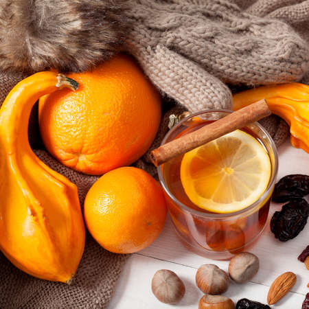 hot drink: Winter fruits and drink, hot tea and oranges
