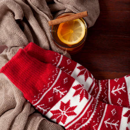 christmas hats: Warm winter red socks and cup of hot tea