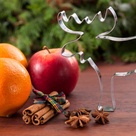 cookie cutter: Christmas flavors and cookie cutter in reindeer shape Stock Photo