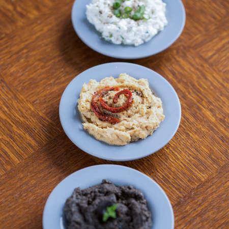 spreads: Sandwich spreads - cottage cheese, hummus and tapenade