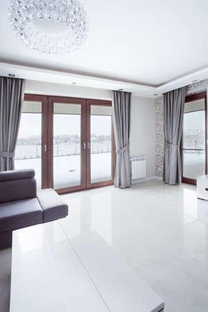 room door: White shining marble floor in new modern lounge