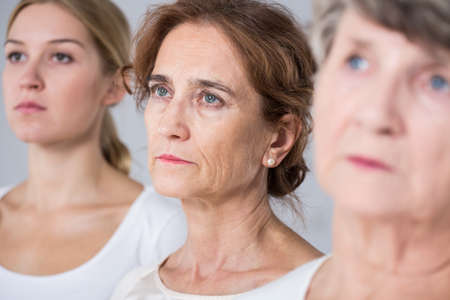 three women: Aging process - three women in different age