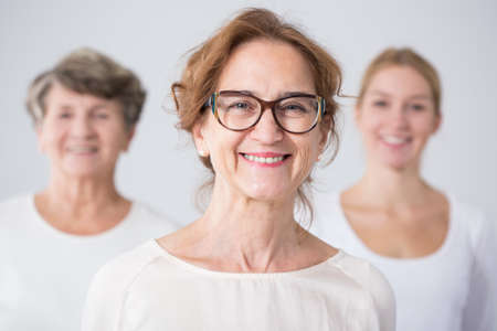 three women: Portrait of three generations of female family Stock Photo