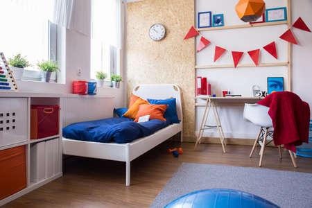boy bedroom: Interior of modern designed teen boy bedroom