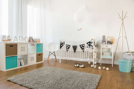 light interior: Picture of cosy and light baby room interior Stock Photo