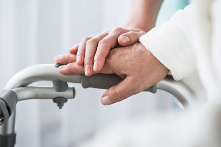 Support: Photo of professional healthcare and support at nursing home