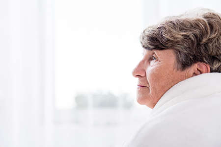 doctor care: Portrait of female elderly resident of care home