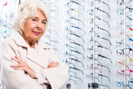 shortsightedness: Image of elder woman in optician store