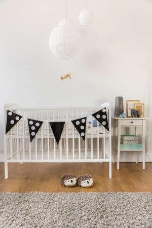 ecole maternelle: Photo de blanc de lattes de bois dans la chambre d'enfant