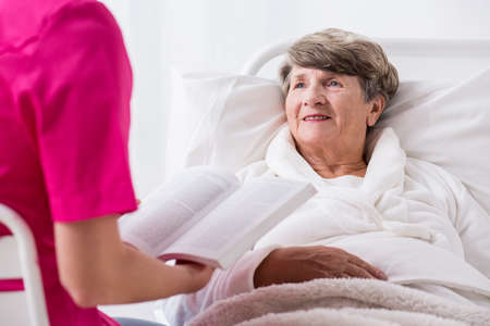 home nursing: Picture of elderly female patient with positive attitude