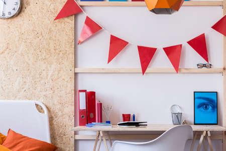 Horizontal view of contemporary teen room design