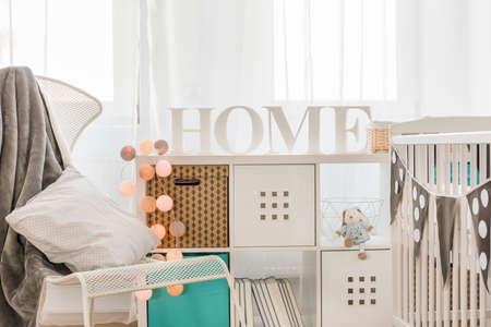 新しいデザインの子供収納家具の写真 写真素材