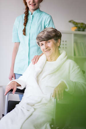 private hospital: Picture of elderly woman having professional private medical home care