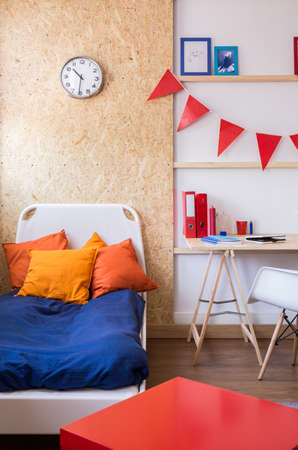 bedclothes: Blue bedclothes and orange cushions in teen modern bedroom