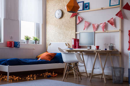 boy room: Modern bedroom for teen boy or girl Stock Photo