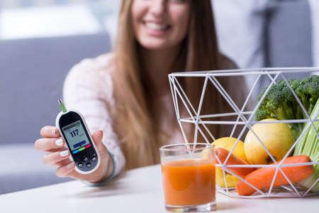 Image of happy diabetic girl leading healthy lifestyle Stock Photo