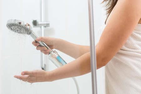 female in douche: Image of wellness female taking refreshing shower