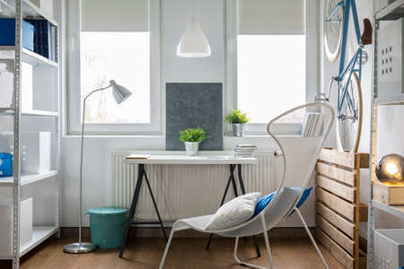 lamp shade: Small bright studio flat with white furniture