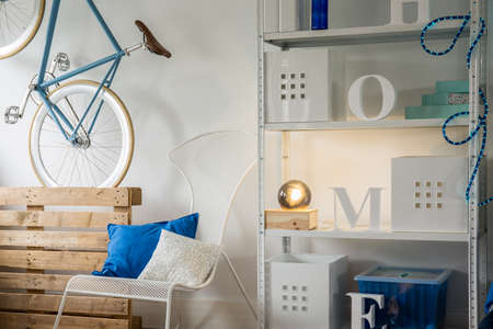 rack arrangement: Creative minimalist decorations in raw designed room