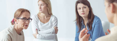 health professionals: Panorama of women after nervous breakdown during therapy Stock Photo