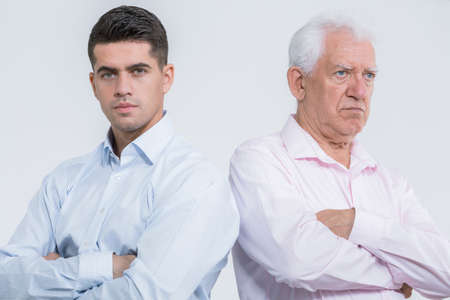 Argument between mature son and senior father