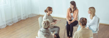 People with mental problem during meeting of support group