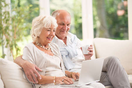 Photo of happy senior pair with computer skills